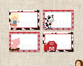 PRINTABLE Girl on the Farm Label Tents #559