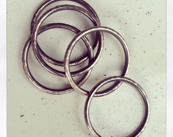 RING Stackers - hammered silver stacking rings - delicate - textured