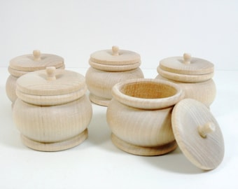 """5 Trinket Boxes 2 1/4"""" W x 2"""" H Unfinished Wood Round Ring Bowl Unfinished Wood Pumpkin Box"""