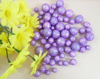 Glitter Balls Pastel Purple Styrofoam Beads