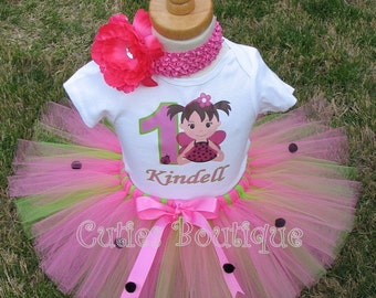 HotPink Green LadyBug Birthday Outfit Set With Personalized Shirt- All Sizes 6 9 12 18 24 Months 2T 3T 4T ---Birthday, Photo, Dress Up