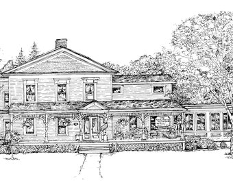 Custom HOUSE PORTAIT - Original Pen&Ink Drawing of Your Home-Watercolor House-Our First Home-house drawing,new house,family home