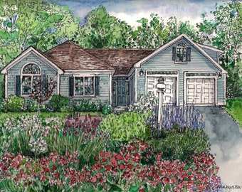 House Portrait-Pen/Ink and Watercolor Custom hand-painted Portrait of your home, Family Home,Personalized Art, by artist Patty Fleckenstein
