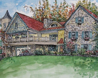 HOUSE PORTRAITS, Original Watercolor, Pen and Ink Drawing, Custom Portrait of Your Home Or Building, Illustration,House Painting