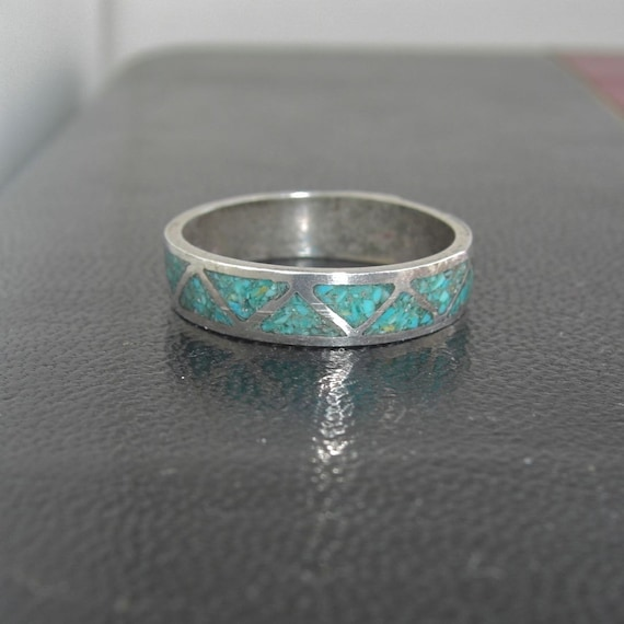 Vintage Sterling Silver Amp Turquoise Band Ring Mens Ring