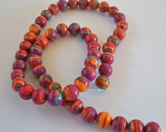 Gorgeous Multi Colored Swirl Stone Beads Strand