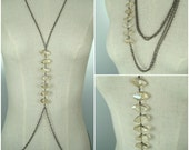 Body Chain Harness, Convertible Combo Necklace, Chest Piece with Cascading Crystals, Body Jewelry