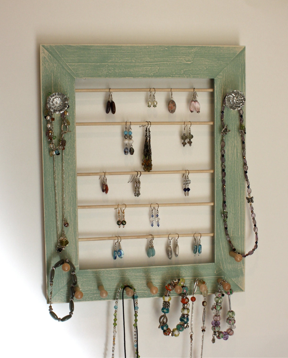 wall mount jewelry holder organizer rustic style wood frame