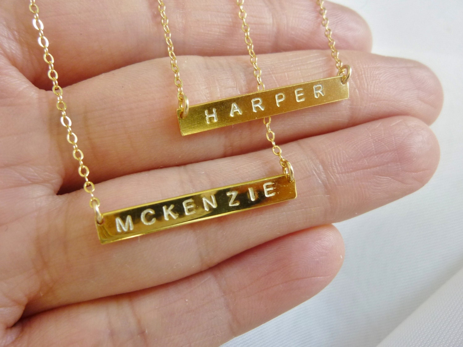 Gold bar necklace with name / Universal outlet adapter