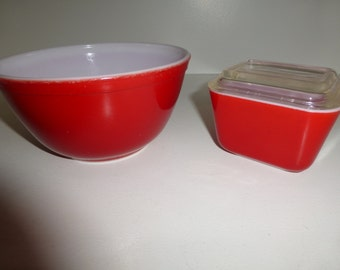 Vintage Red Pyrex Nesting Bowl - 402 and Red Pyrex Refrigerator Dish with Lid - 501