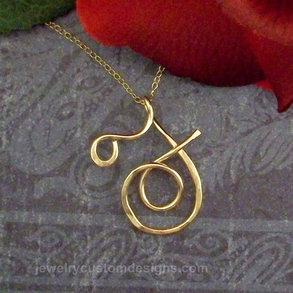 14k Gold Filled Personalized Calligraphy Script Initals