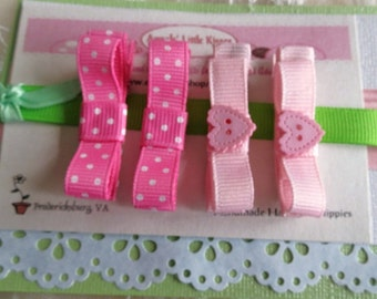 Tuxedo Bow Hair Clippies in Pink color with Flower button Baby Infant Hair Clip