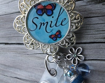 Retractable ID Badge Holder   SMILE   in Pendant tray with Initial Charm and Coordinating Beads