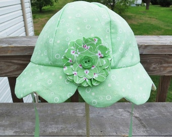 Girls SunHat Mint Green Scallop Brim Children Accessory