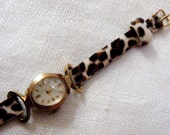 Vintage 1960's Bulova Caravelle Watch with Animal Fur Band