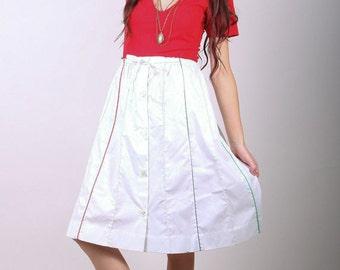 Small / Medium - 60 Skirt - Vintage High Waist Button Down Skirt - White and Multi Colored - Rainbow Skirt - Mod Skirt