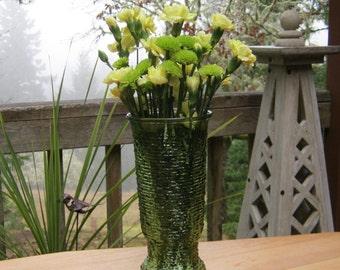 Tall Vase Avocado Green Soreno Style by Napco - Wedding Events - Centerpiece - Oak Hill Vintage