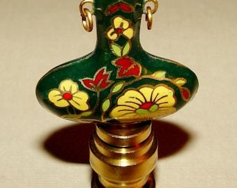 Vintage Chinese Cloisonne Green Yellow Flowers Enamel Vase Lamp Finial