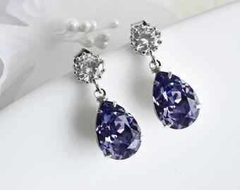 Purple, Tanzanite Swarovski Earrings, Bridesmaids Earrings, Tanzanite Swarovski Teardrops and Cubic Zirconia Stud Earrings