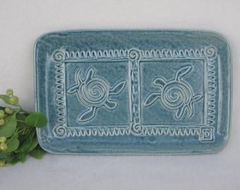 Sea Turtle Platter Blue, Green  #seaturtle  #servingdish  #gift #platter