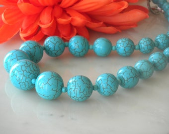 Blue turquoise necklace. Large graduated blue round natural howlite, statement, chunky, gift idea, big bold, natural gemstone