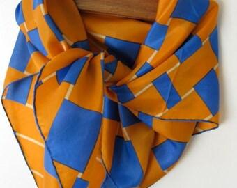 Glentex Orange and Blue Basket Weave Scarf