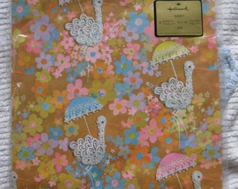 One Sheet of Lacy Stork Baby Shower Gift Wrap by Hallmark
