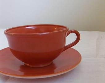 Hazel Atlas Ovide Rust Tea Cup and Saucer