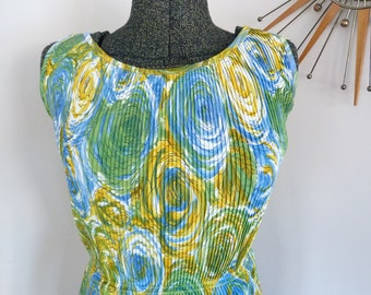 1950's-60's Van Gough Style Printed Wiggle Dress Amazing Vintage Pin Up Wiggle Dress Mad Men Pin Up VLV