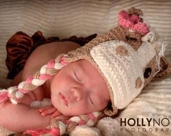 Horse hat, newborn horse hat, crochet horse, crochet horse hat, pony hat, newborn photo prop, animal hat, crochet hat, pink horse hat