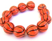 6 basketball beads, porcelain, orange and black striped, 15mm