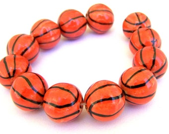 6 basketball beads, porcelain, orange and black striped, 15mm