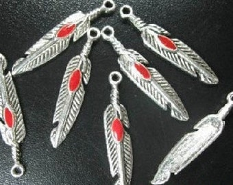 Feather Charm Red Enamel