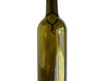 Olive Glass Wine Bottle Candle Holder Hanging Hurricane Lantern