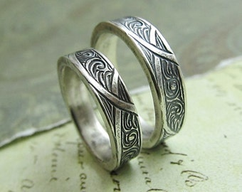 Waves and Arches Wedding Band Set, Engraved 14k White Gold Rings, His and Hers, Celtic Scroll Ring by JC Metalsmith