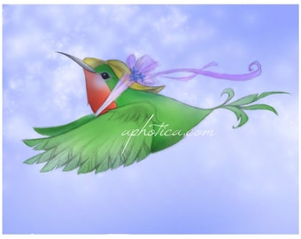 hummingbird  8.5x11 original art print