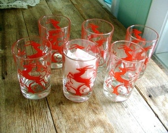 GAZELLES 6 Mid Century 1950s drinking glasses tumblers Federal Glass 4 inches