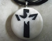Cross with dove hand carved on a polymer clay mother of pearl color background. Pendant comes with a FREE 3mm Necklace