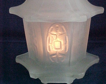 Satin Glass Fairy Lamp Pagoda Shape Asian Oriental White Votive Candle Included