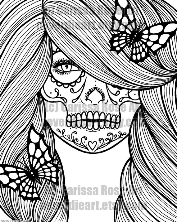 digital download print your own coloring book outline page day of the dead girl with butterflies by carissa rose - Print Your Own Coloring Book