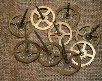 Vintage Clock Gears - 9 pcs