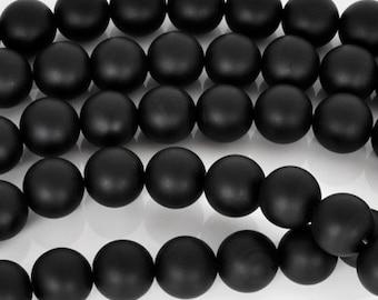 Gemstone-6mm Matte Round Onyx Beads-Black-15.5 Inch Strand