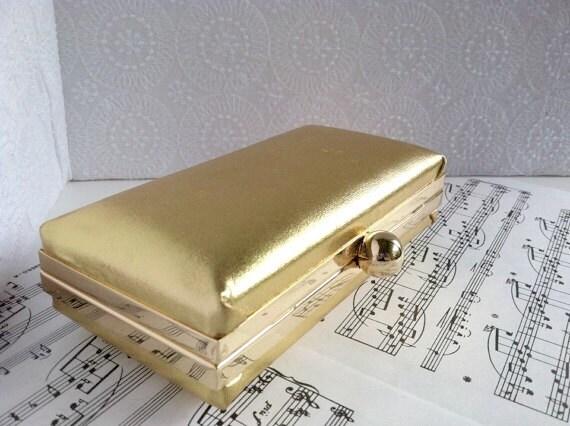 Metallic gold clutch, Hard shell minaudiere clutch with chain