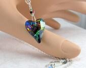 Heart Necklace, Valentine Necklace, Green Heart Pendant, Blue Heart Pendant, Vitrail Heart, Silver Heart Necklace