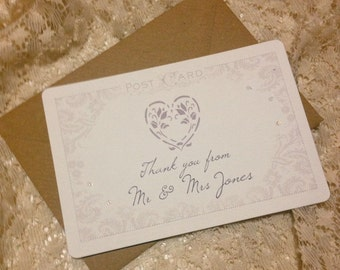 Vintage Postcard Wedding Thank You Pack of 25 Notecards