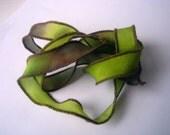 Hand Dyed Painted Habotai Silk Wrap Bracelet - brown lime green - Silk Fairy Ribbon DIY wrap bracelet Silk Bracelet Ribbon - Jewelry Supply