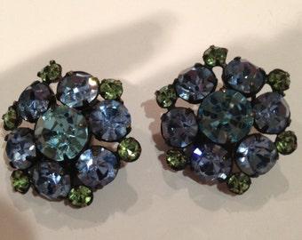 Vintage Blue Green Rhinestone Earrings