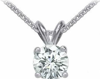 14k white gold 0.85ct round cut forever one moissanite prong set solitaire necklace and chain