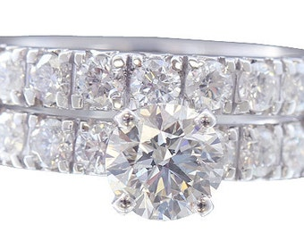 18k white gold round cut diamond engagement ring and band art deco 1.47ctw
