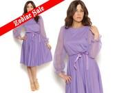 70s Midi Dress Pastel Purple Sheer Circle Skirt Ribbon Ruffle1970s Disco Puff Sleeves Violet Secretary Dress / Size M L Medium Large